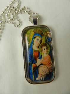 Child Jesus Virgin Mary Queen of Heaven Glass Tile Pendant Necklace