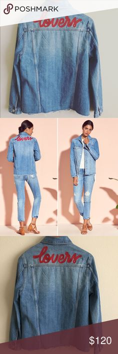 """Lovers + Friends James Embroidered Denim Jacket Say hello to your future fave. The James Denim Jacket gives you all that you need with its classic medium wash and boyfriend fit to stay lit.  Sz Small  Bust: 38""""  Length from shoulder: 25""""  Shoulder length: 16""""  Sleeve length: 24""""  100% cotton  Front button closure  Chest flap pockets with button closures  Side welt pockets  Buttoned cuff sleeves  Unfinished hem  Embroidered back detail Lovers + Friends Jackets & Coats Jean Jackets"""