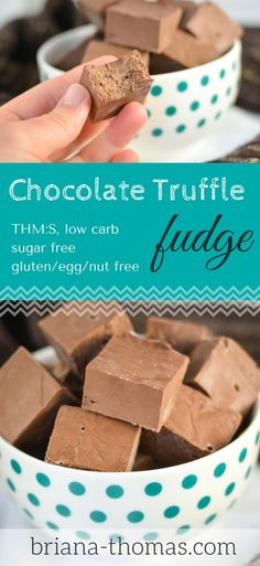 Chocolate Truffle Fudge - it uses a secret ingredient (not beans this time) for a really awesome truffle texture! THM:S, low carb, sugar free, gluten/egg/nut free (Chocolate Cream Horns) Sugar Free Fudge, Sugar Free Desserts, Low Carb Desserts, Fudge Recipes, Candy Recipes, Low Carb Recipes, Dessert Recipes, Healthy Recipes, Trim Healthy Momma