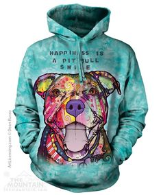 Pit Bull Smile Adult Hoodie Sweatshirt - 80% cotton and 20% polyester. Quality printed, preshrunk Made in USA.