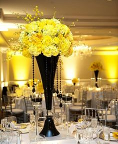 58 Ideas For Wedding Themes Yellow Centerpieces Yellow Centerpieces, Centerpiece Decorations, Reception Decorations, Event Decor, Wedding Centerpieces, Reception Ideas, Tall Centerpiece, Birthday Centerpieces, Tall Vases