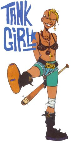 Tank girl with baseball bat, the iconic shot of her #tankgirl