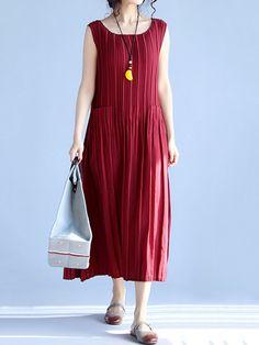 Vintage Women Sleeveless Ruffles Pure Color Long Maxi Dresses