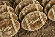 Football Sugar Cookies: Use your favorite sugar cookie dough or recipe and decorate with sparkling sugar crystals or sanding sugar in football brown -- or your team's colors!