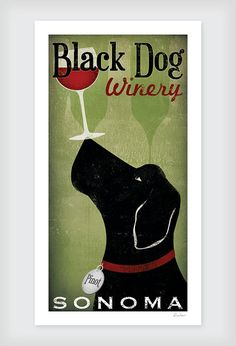 CUSTOM Personalized LABRADOR Cellars Vineyard Wine Company graphic art giclee print 8x16 inches Signed by artist / this is really cool!!! But $40 =(