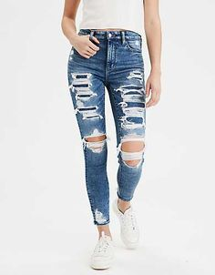 Biker Shorts Outfit Discover AE Ne(x)t Level Super High-Waisted Jegging Crop Cute Ripped Jeans, Torn Jeans, Ripped Jeggings, Women's Jeans, Black Jeans, Pantalones American Eagle, American Eagle Jeans, Casual Jeans, Jeans Style