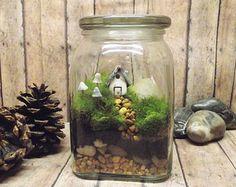 Miniature Lanscape Live Moss Terrarium with Tiny Raku by GypsyRaku