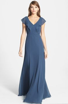 Nordstrom Jenny Yoo 'Cecilia' Ruffled V-Neck Chiffon Long Dress (Online Only) in Evening Blue Chiffon Dress Long, Chiffon Ruffle, Blue Dresses, Dresses With Sleeves, Bridesmaid Dresses, Prom Dresses, Groom Dress, Nordstrom Dresses, Dress Patterns