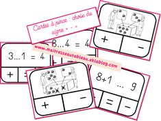Cartes à pince signes de l'addition et de la soustraction + - - Maitresse, au tableau ! Important Facts, 1st Grade Math, Flash Photography, Math Games, Best Memories, Taking Pictures, Signs, Creative Gifts, First Love