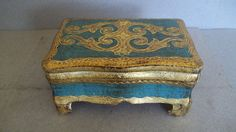Vintage Florentine Dresser Box - Italian Gilded Box - Italian Jewelry Box - Wood Box -  Jewelry Box - Deep Blue-Green and Gold
