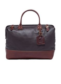 16 in Leather Carryall - Dark Brown & Mahogany Trim