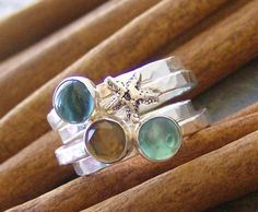 By the Sea... gem stone sterling silver stacking rings by cinnamonsticks on etsy