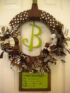 Safari new baby ribbon wreath with birth announcement on canvas