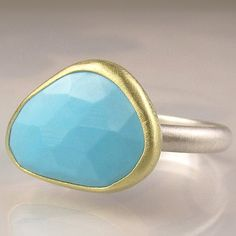 Rose Cut Sleeping Beauty Turquoise Ring - 18k Gold and Sterling $146 Etsy