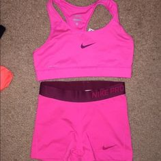 Pink Nike bra and spandex set Never worn, both are size small Nike Other