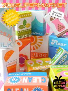 Charming faux packaging for kids play kitchen. Vintage or Scandinavian design fans will like these Supermarket Play Shop Box Printables from Alice Apple. Kids Play Kitchen, Play Kitchens, Pretend Kitchen, Kitchen Box, Diy For Kids, Crafts For Kids, Do It Yourself Design, Play Shop, Dramatic Play