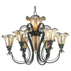 Nine-light chandelier with iridescent art glass shades.   Product: ChandelierConstruction Material: Metal and gla...