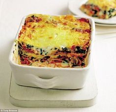 Mary Berry Vegetarian lasagne is part of Mary Berry Vegetarian Lasagne Daily Mail Online - Mary Berry's favourites with a modern twist Veg Lasagne, Vegetarian Lasagne, Lasagne Recipes, Vegetarian Dinners, Vegetarian Cooking, Vegetable Recipes, Vegetarian Recipes, Cooking Recipes, Veg Lasagna Recipe