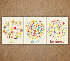"""Kitchen Wall Art, Dining Room Decor, Kitchen Digital Art, Kitchen Poster Print, Set of 3 Prints 8"""" x 10"""", Eat, Drink, Be merry by ANYPRINT on Etsy https://www.etsy.com/listing/164092313/kitchen-wall-art-dining-room-decor"""