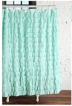 This waterfall ruffle shower curtain available from urban outfitters is totally dreamy. Now, if only I had a claw foot tub!