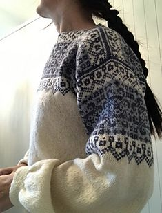 I only used the colorwork diagram from the original pattern in my project. I wanted a much more feminine and 'light' version, so I picked a different yarn as well. I used Rauma Finull in three di... Jumper Patterns, Swatch, Knit Crochet, Dress Up, Diagram, Feminine, Knitting, Women's, Costume
