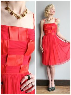 1960s Dress // Ruby Red Kiss Party Dress // by dethrosevintage
