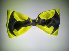 Batman Sign Bow Barette by PeaceLoveAndRibbon on Etsy, $4.15