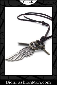 Mens Necklaces | Mens Accessories | Mens Jewelry |  Necklace on Men | Jewelry on Men | Jewelery for Men | Necklaces on Men | Men Jewellry ♦ KONOV Jewelry Vintage Style Angel Wing Cross Pendant Genuine Leather Necklace Chain (with Gift Bag) $7.99