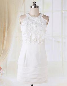 Halter Chiffon White Short Cocktail Dress Party Dress Graduation Dress