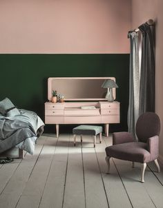 55 ideas for dusty pink feature wall bedroom Pink Feature Wall, Painted Feature Wall, Half Painted Walls, Feature Wall Bedroom, Half Walls, Dusty Pink Bedroom, Pink Bedroom Walls, Bedroom Paint Colors, Bedroom Green