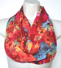 Multicolor chiffon infinity scarf red tones by byJuliasDesigns