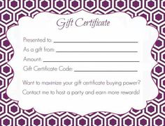 Gift Certificate Print Out