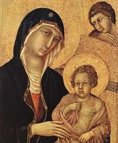 Duccio di Buoninsegna (Italian, Sienese, 1255-1319). Madonna with Angels and Saints. Detail 1308-11