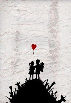 Banksy Red Heart Balloon Boy Girl Weapons Graffiti Art Poster - 11x17  $9.80