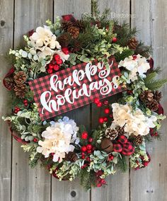 Excited to share this item from my shop: Buffalo plaid Christmas wreath, rustic Christmas wreath for door, farmhouse Christmas wreath, hydrangeas winter wreath, winter Decor Christmas Pine Cones, Wood Christmas Tree, Christmas Wreaths To Make, Plaid Christmas, Holiday Wreaths, Christmas Tree Decorations, Christmas Crafts, Holiday Decor, Winter Wreaths