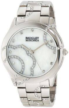 Badgley Mischka Women's BA/1201MPSV Swarovski Crystal Accented Floral Design Silver-Tone Bracelet Watch Badgley Mischka. $225.00. Genuine mother-of-pearl dial with 12 swarovski crystal hour markers and applied flower design. Silver-tone stick hour, minute and second hands. Polished silver-tone link bracelet with swarovski crystals set in half flower shape. Water resistant up to 100 ft.. 38 mm polished round silver-tone case