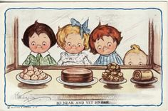 Artist Signed  GRACE GEBBIE WIEDERSEIM -- Children see Sweets  1912 postcard