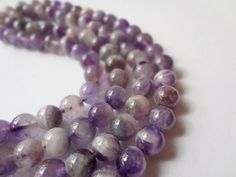 10mm Genuine Amethyst Round Banded Gemstone Beads - 20 pcs, Half Strand