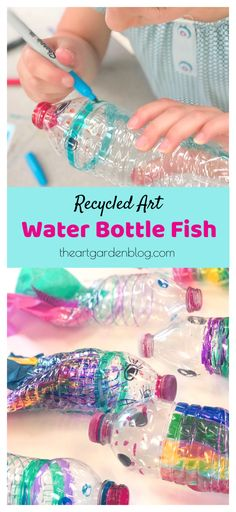 Try this simple and fun summer art project with just a few simple materials: / Elementary Art Project / Recycled Art / Upcycled / Ocean Theme Art Recycling Art Project: Water Bottle Fish Bubble Painting, Bubble Art, Painting For Kids, Art For Kids, Recycled Art Projects, Upcycled Crafts, Art From Recycled Materials, Water Bottle Crafts, Water Bottle Art