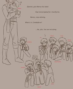 Enjolras taking care of baby Les Amis...awwwwww!  This is the cutest thing! <3