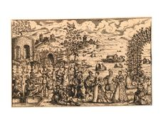 Brit Museum: French, A party of noblemen and women in 16th century dress in an idyllic garden; some playing music at right, others strolling around in the middle, group of men sitting around a table near a term at left; beyond, at right, gondolas on a stretch of water Etching