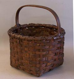 antique baskets | 19th century antique oak splint market basket