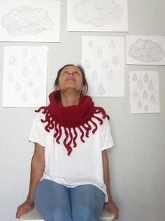 Savages crochet fringe cowl neckwarmer in pomegranate by sidirom, €32.00