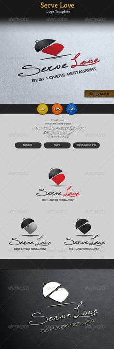 Serve Love Restaurant Cafe Food Logo by CreativeSource_online lovers point/romantic/restaurant/place/location related logo design. Very organized and customizable PSD, EPS and Ai file. Restaurant Brochure, Logo Restaurant, Signage Design, Brochure Design, Circle Logo Design, Graphic Design, Unique Logo, Cafe Food, Logo Food