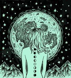 "rachelbennettdraws: "" it's just the night in my veins… moon daughter ✨✨ """