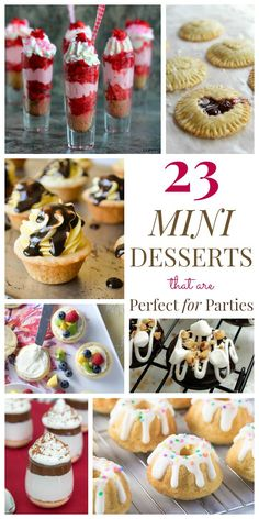 Catering entertaining crowds desserts savoury 23 Mini Desserts that are Perfect for Parties - from petite pies and pint-sized parfaits to tiny tarts and dainty donuts, all the best miniature sweet treats for any occasion! Mini Desserts, Potluck Desserts, Bite Size Desserts, Party Desserts, Just Desserts, Delicious Desserts, Yummy Food, Desserts For Bridal Shower, Finger Desserts
