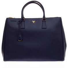 Pre-Owned Prada Saffiano Two Zip Lux Tote Medium - Large found on Polyvore