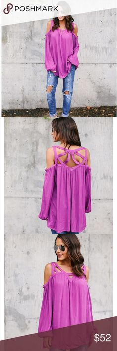 Berry pink flowing top Cut out neckline is gorgeous and stunning! This top is billowy and super comfortable!! Tops