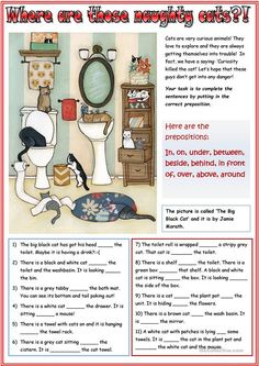 Prepositions with cats worksheet - Free ESL printable worksheets made by teachers Free Worksheets For Kids, Homeschool Worksheets, French Worksheets, Printable Worksheets, Homeschooling, Education English, Teaching English, Learn English, Teaching Methods