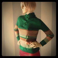 Cool vintage half-zip sweater By British Vogue. Washable British Vogue Sweaters